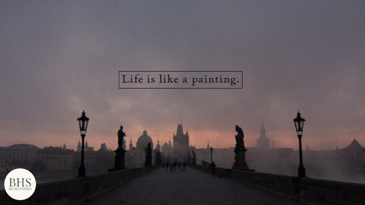 bridge at dusk with words life is like a painting